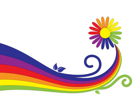 Abbildung abstract Rainbow Daisy auf weißem Hintergrund Vektorgrafik