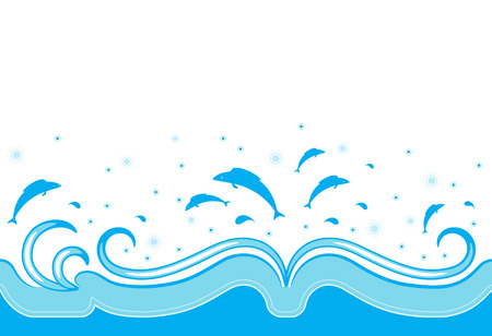 illustrated blue border with waves and fishes on white background