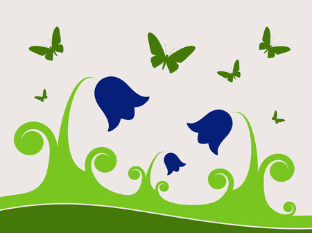 bellflower: illustrated background with bluebells and butterflies