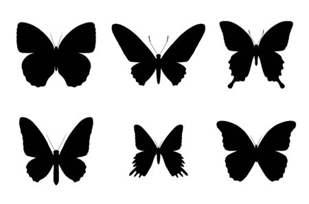 set of black butterfly silhouettes on white background