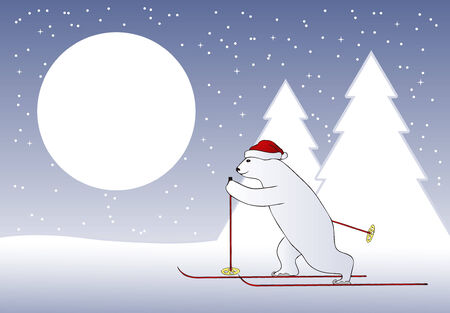illustrated vector background with Christmas bear skier Stock Vector - 5949809