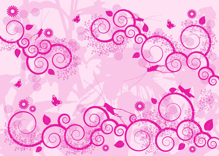 illustrated vector background with ornaments, grasshoppers and butterflies Vector