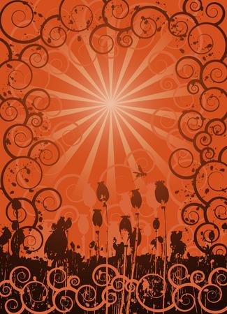 poppy field: Fondo ilustrada con campo de amapola y adornos