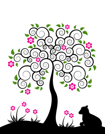vector flowering tree and goat kid on white background Ilustração