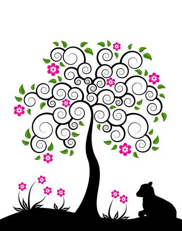 virágzó: vector flowering tree and goat kid on white background Illusztráció