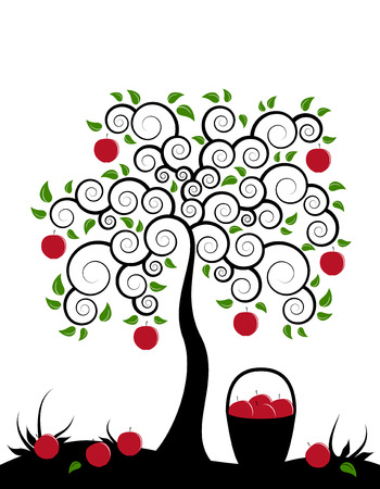 albero di mele: albero di mele vettoriale e cesto di mele su sfondo bianco