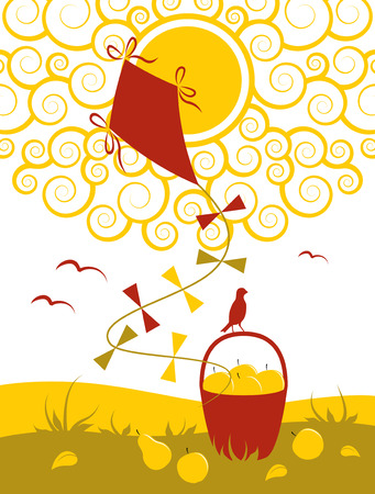 vector illustration of sun, kite and fruit in basket Vector