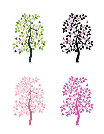 four versions of vector flowering tree on white background Vector