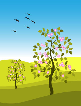 bevy: vector landscape with flowering trees and flock of birds