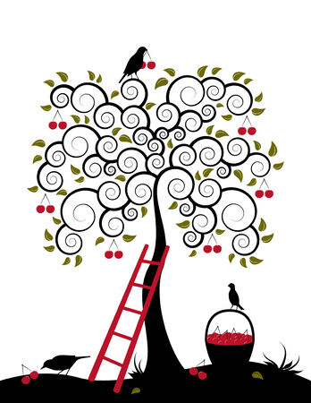 cherry tree, ladder, birds and basket of cherries on white background Ilustração
