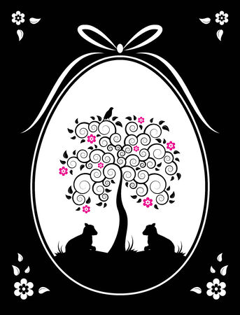 Easter egg with flowering tree and goat kids decor on black background Vector