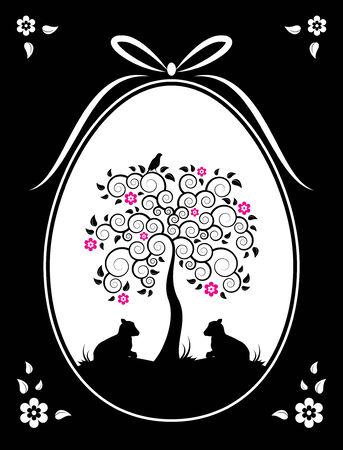 kid goat: Easter egg with flowering tree and goat kids decor on black background Illustration