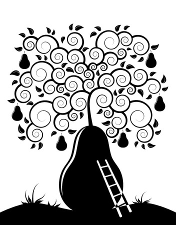 abstract pear tree and ladder on white background Vector
