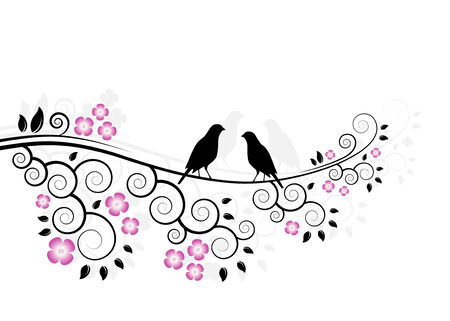 abstract flowering branch with couple of birds on white background Stock Vector - 6633736