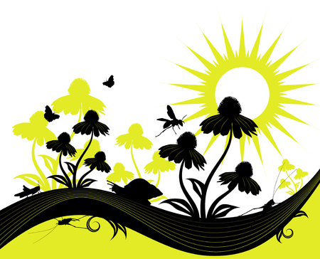background with flowers, snail and insects Vector