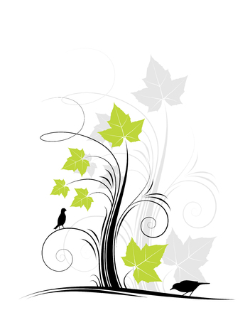 ornament with leaves and birds on white background Stock Vector - 6693300