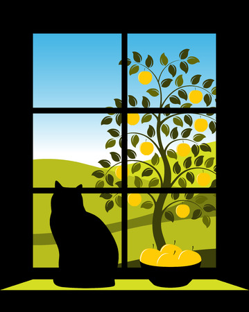 landscape with appletree outside window Stock Vector - 6693303