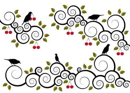 abstract cherry branches and birds on white background Vector