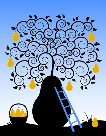 abstract pear tree, basket of pears and ladder Vector