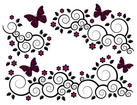 abstract flowering branches and butterflies on white background Stock Vector - 6787297
