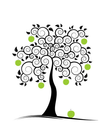 green and black: abstract apple tree on white background