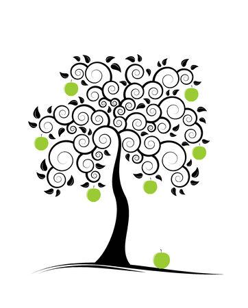 pommier arbre: Pommier r�sum� sur fond blanc