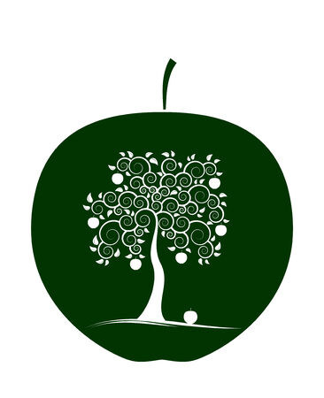appletree: apple with abstract apple tree decor on white background Illustration