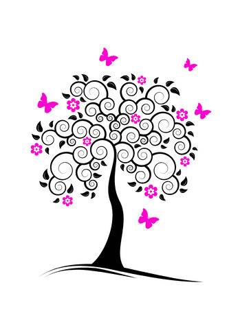 flowering tree and butterflies on white background