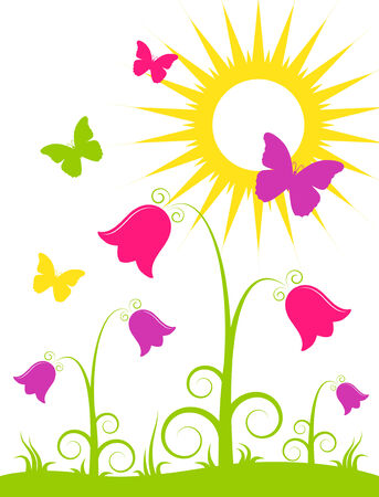abstract flowers, butterflies and sun on white background