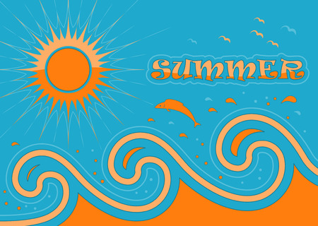 summer background with waves and sun