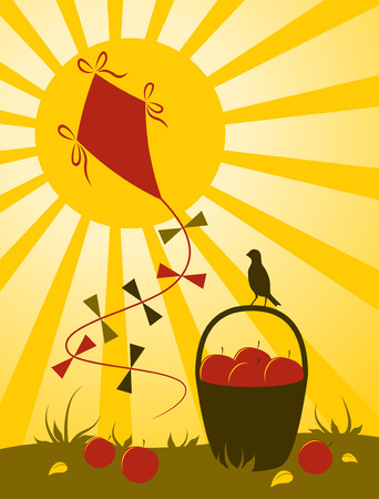 apples in basket, kite and sun Vector