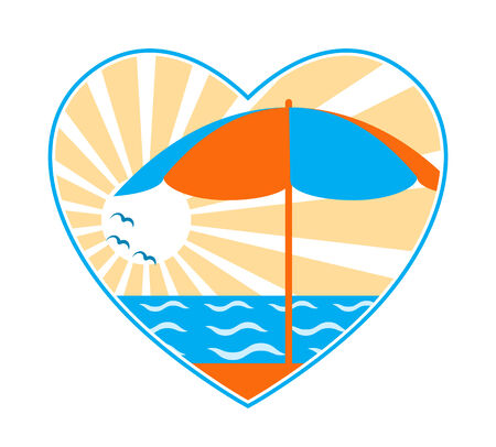 beach umbrella, sea and sun in heart on white background Stock Vector - 7276799