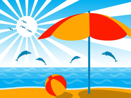 background with beach umbrella, ball, sea, sun and jumping fishes Stock Vector - 7316308