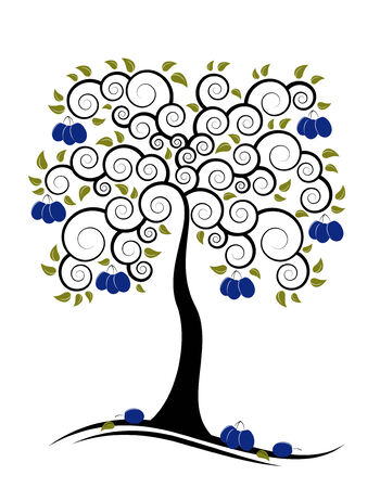 abstract plum tree on white background Vector