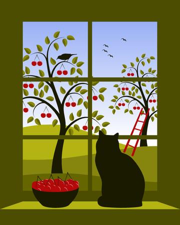 window: cherry orchard outside window