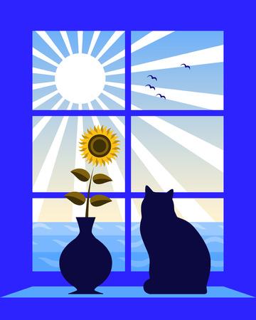 silueta de gato: mar y sol fuera de ventana  Vectores