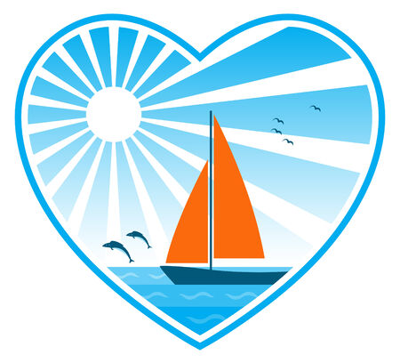 bevy: sea, sun and sailboat in heart on white background