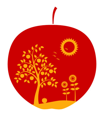 orchard fruit: apple with apple tree, flowers and sun decor on white background