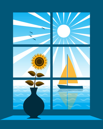 vector sailboat on the sea outside window Vector