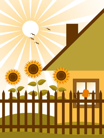 cottage and sunflowers behind fence Stock Vector - 7579981