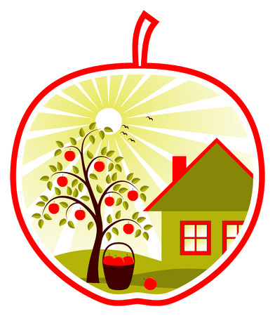 apple tree and cottage in apple on white background Ilustração