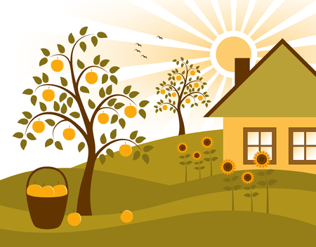 landscape with apple trees, sunflowers and cottage Vector