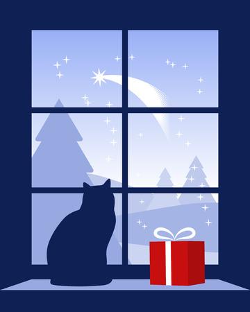 vista ventana: Cometa de Navidad fuera de ventana