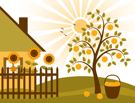 rural scene with apple tree, sunflowers behind fence and cottage Ilustração