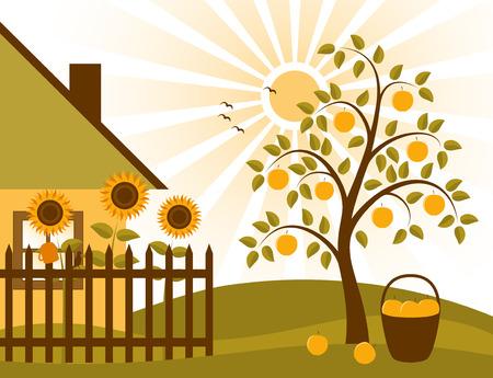 scena rurale con albero di mele, girasoli dietro il recinto e cottage