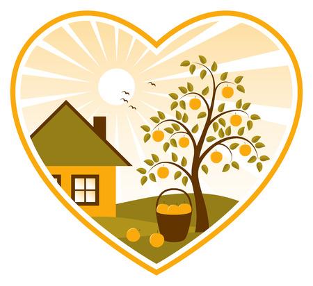icono inicio: Manzano y casa de campo en coraz�n sobre fondo blanco