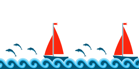 seamless border with waves, fishes and sailboats on white background