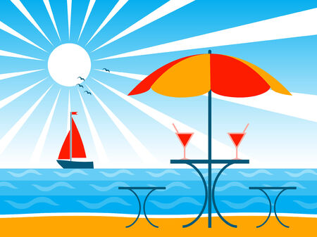 beach umbrella, drinks on table and sailboat Vector