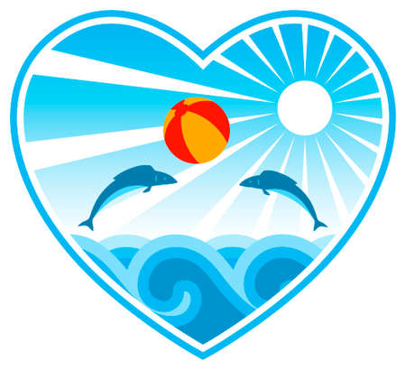 fishes playing with beach ball in heart on white background Vector