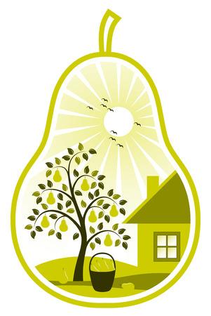 vector pear tree en cottage in peer op witte achtergrond